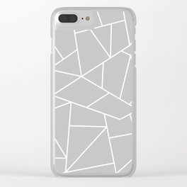 White Mosaic Lines On Silver Gray Clear iPhone Case