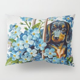 Dachshund and Forget-Me-Nots Pillow Sham