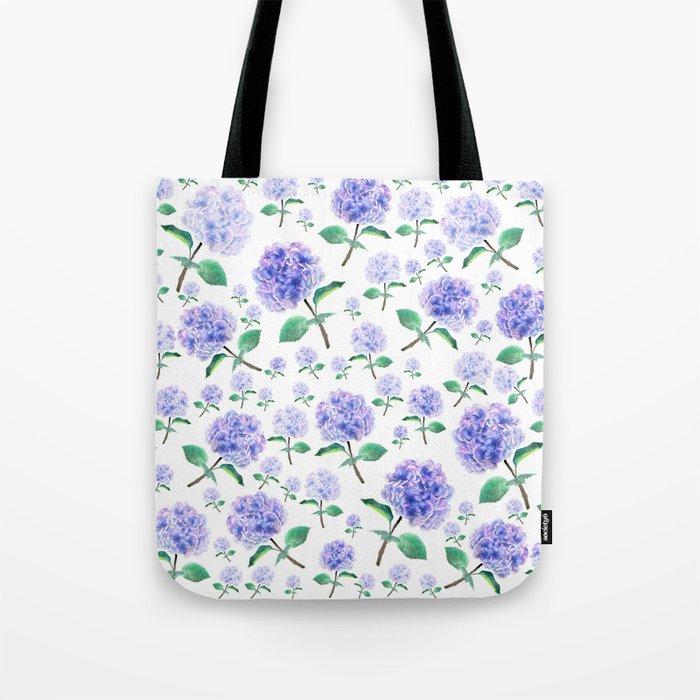 purple blue hydrangea pattern Tote Bag