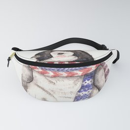 Baby Penguin in Red and Blue Scarf. Winter Season Fanny Pack