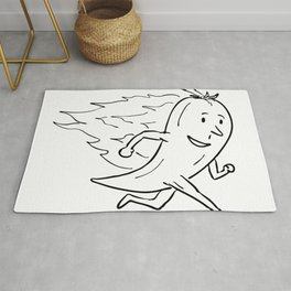 Chilli Pepper on Fire Running Drawing Black and White Rug