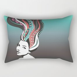 Girl with long colored waves hair Rectangular Pillow