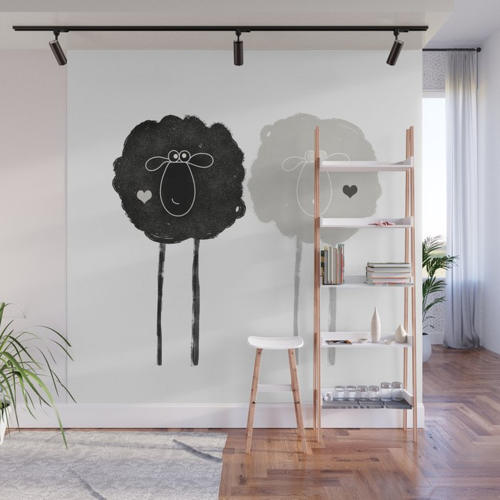 Ying Yang Sheep Wall Mural