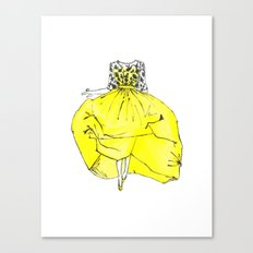 Voluminous Yellow Runway Dress | Print from Original watercolor Painting Canvas Print