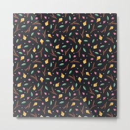 Vibrant Folk Art Floral Pattern Metal Print