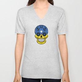 Sugar Skull with Roses and Flag of Ukraine Unisex V-Neck