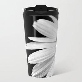 Half Daisy in Black and White Metal Travel Mug