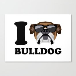 I Love Bulldog modern v1 Canvas Print