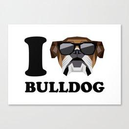 I Love Bulldog modern v1 Canvas Print