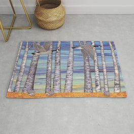 Canada geese, hedgehogs, and autumn birch trees Rug