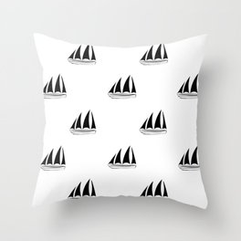 Black Sailboat Pattern Throw Pillow