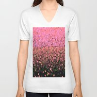 sparkles V-neck T-shirts featuring  Sparkles and Glitter Pink by Saundra Myles