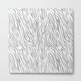 Modern gray white vector zebra animal print pattern Metal Print