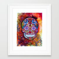 sugar skull Framed Art Prints featuring Sugar Skull by oxana zaika