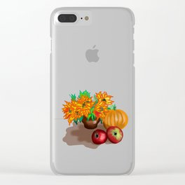 pumpkin sunflowers and apples Clear iPhone Case