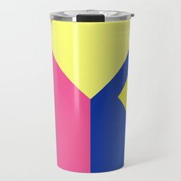 Modern contrast summer blue yellow pink color block Travel Mug