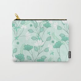 Vintage flowers in a green background Carry-All Pouch