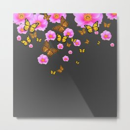GREY PINK WILD ROSES  MONARCH BUTTERFLIES Metal Print