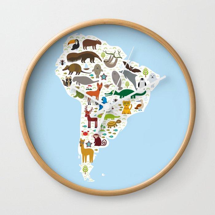 South America Sloth Anteater Toucan Lama Bat Fur Seal Armadillo Boa Manatee Monkey Dolphin Wall Clock