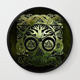Tree of life - Yggdrasil  and celtic animals Wall Clock