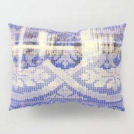 needlepoint sampler in blues Pillow Sham