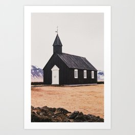 Búðakirkja. Black Church at Budir, Iceland. Art Print