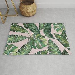 Jungle Leaves, Banana, Monstera Pink #society6 Rug