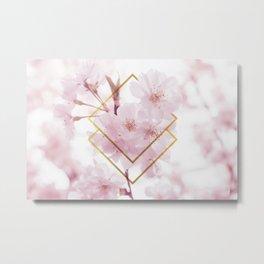 Cherry Blossoms Geometry Metal Print
