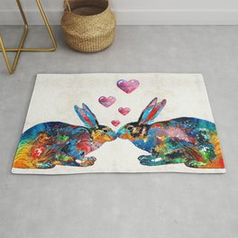 Bunny Rabbit Art - Hopped Up On Love - By Sharon Cummings Rug