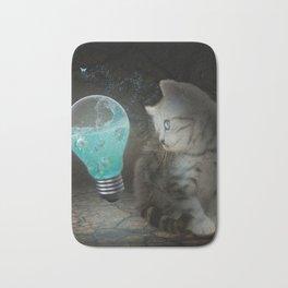 Cute cat with light bulb Bath Mat