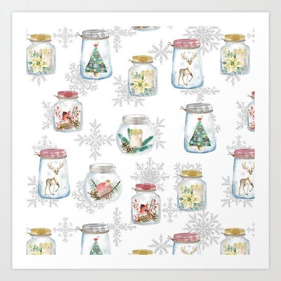 Christmas glass jars Art Print