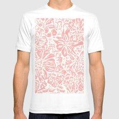 Marigold Lino Cut, Rose Pink MEDIUM White Mens Fitted Tee