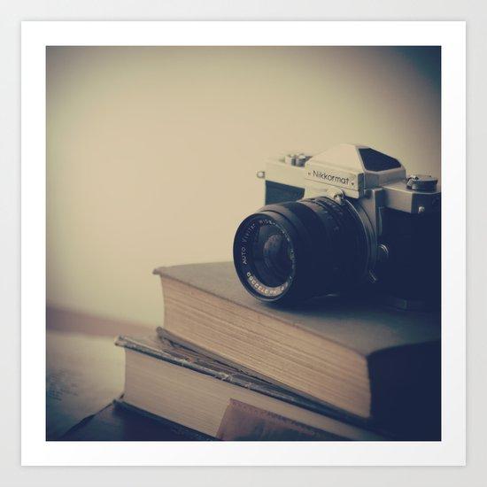 Vintage Nikon Camera and Old Books Art Print