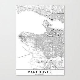 Vancouver White Map Canvas Print