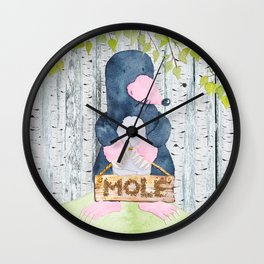 The busy Mole - Woodland Friends- Watercolor Illustration Wall Clock
