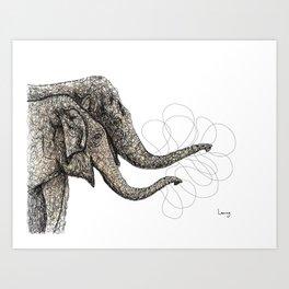 Couple of elephants Art Print