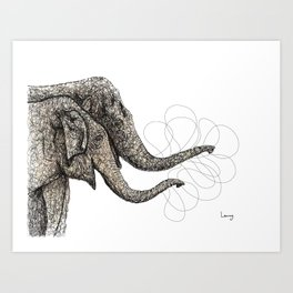 Couple of elephants Art Print