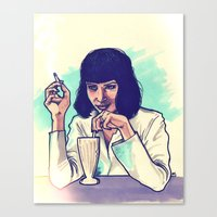 mia wallace Canvas Prints featuring Mia Wallace by ARTBYSKINGS