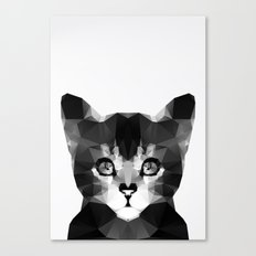 Black Geo Cat Canvas Print