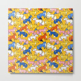 Colored foxes pattern - animals series Metal Print