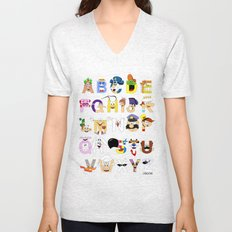 Breakfast Mascot Alphabet Unisex V-Neck