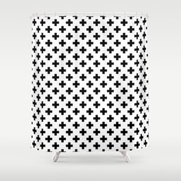 Black Crosses on White Shower Curtain