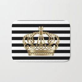 Black and White Stripes and Gold Crown 1 Bath Mat