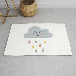cute cloud with rain for kids Rug