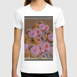 SHABBY CHIC ANTIQUE PHOTO PINK DONUTS T-shirt