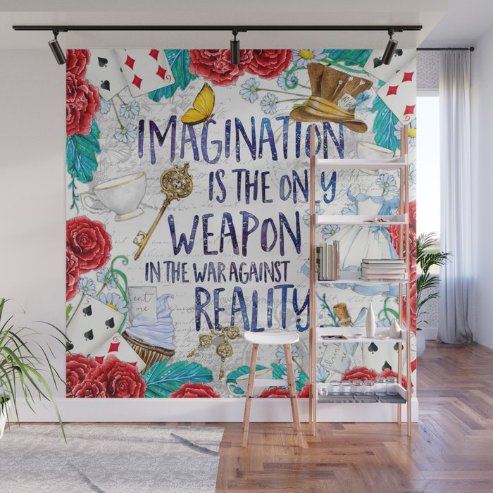 Alice in Wonderland Imagination Wall Mural by evieseo Society6