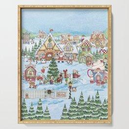 Santa's Christmas Winter Village Serving Tray