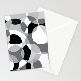 Black White and Gray Circles Stationery Cards