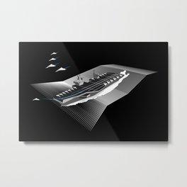 Paperplane Carrier Black Metal Print