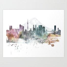 Tokyo Nature Pastels Skyline Art Print